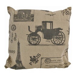 Tan / Brown Canvas French Postcard Victorian Paris Print Throw Pillow 16 Inch - This throw pillow is a wonderful accent for anyone who loves all things French! It features a French postcard style Victorian Paris theme on the front, in brown, against a tan canvas cover. The pillow measures 16 inches by 16 inches, and has a zipper on the back of the cover so you can remove and wash it. The pillow insert is 100% polyester. It looks lovely on beds, chairs, and couches anywhere in your home, and makes a great gift for a friend.