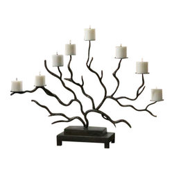 Uttermost Esher Twig Candelabra - Bronze metal, hand forged into delicately designed twigs. Distressed beige candles included. Bronze metal, hand forged into delicately designed twigs. Distressed beige candles included.