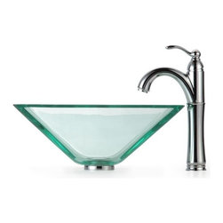 Kraus - Clear Aquamarine Glass Vessel Sink and Rivera - Finish: Oil Rubbed Bronze
