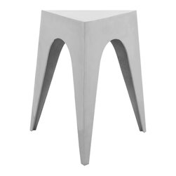 Safavieh - Indium Triangle Aluminum Side Table - The Indium Triangle side table has the solution for space age styling in minimum space. Crafted in silver-tone aluminum, Indium will fit in a corner as easily as against a wall or with a cluster of furnishings to hold a lamp, a book or a cocktail.