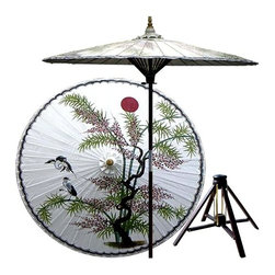 Oriental Unlimted - Asian Splendor Patio Umbrella in Beijing Whit - Includes Bamboo stand. Handcrafted and hand-painted by master artisans. 100% Waterproof and extremely durable. Umbrella shade can be set at 2 different heights, 1 for maximum shade coverage and the other for a better view of the shade. An optional base, which secures the umbrella rod and shade against strong winds and rain. Patio umbrella rod and base is constructed of stained oak hardwood for a rich look and durable design. Umbrella shade is made of oil-treated cotton. Minimal assembly required. Canopy: 76 in. D x 84 in. HThis one of a kind patio umbrella is completely handcrafted with a beautiful hand-painted design of an Asian landscape on top.