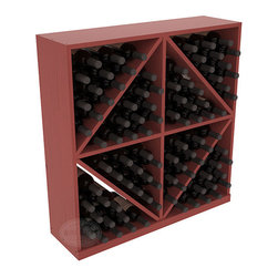 Solid Diamond Wine Storage Bin in Pine with Cherry Stain + Satin Finish - This solid wooden wine cube is a perfect alternative to column-style racking kits. Holding 8 cases of wine bottles, you can double your storage capacity with back-to-back units without requiring more access area. This rack is built to last. That is guaranteed.