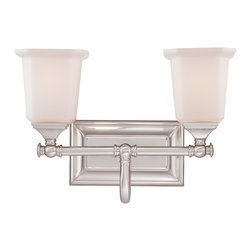 Quoizel - Quoizel NL8602BN Nicholas Transitional Wall Sconce - This gleaming collection gives a solid nod to midcentury style. The squared shape of the opal etched glass shades gives this design an edge, and it is complemented beautifully by the rectangular backplate.