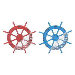 Benzara - Beautiful and Modern Wood Ships Wheel Hook - Set of 2 - Brandishing a realistic appearance, this Wood Ships Wheel Hooks is an excellent accessory if you are looking for practicality and style. Available in shades of blue and red, these ship wheels are ideal for incorporating in casual modern settings. These ship wheels feature a unique appearance as they include a combination of classic design and modern styling. To enhance the overall appeal, these ship wheels have hooks to offer better storage, making them suitable for all kinds of settings. Crafted with fine attention to detail, these ship wheels are made from quality wood which gives them a strong and sturdy construction that will last a long time. This decorative piece is a perfect gift for your friend.
