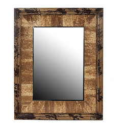 Privilege - Privilege Vintage Reclaimed Wood Wall Mirror - Add a charming touch to your home with this inviting wall mirror,showcasing a contemporary design,and a rectangular shape. This mirror is crafted of reclaimed wood and glass for an ideal decor piece.