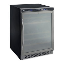 Avanti - Avanti WCR5404DZD 46 Bottle Built-In or Free Standing Dual Zone Wine Cooler Mult - Shop for Wine Refrigerators from Hayneedle.com! Additional features:Dual temperature control zones1-touch digital control for red white or sparkling wineTemperature display in choice of F or C degrees 1-touch on/off interior light controlBuilt-in interior fan for precise temperature controlLarge stainless steel handleSleek mirror-finished glasBuilt-in or free-standing cooler designReversible door hinge allows for left or right hand openingDoor on either side can be locked key included The Avanti WCR5404DZD Wine Cooler can be built into your home as a permanent fixture or used as a standalone appliance. This 46-bottle cooler features two separate temperature control zones so you can simultaneously store your whites and reds at optimal temperatures. This cooler is divided into two zones with room for 32 bottles in the upper zone and 14 bottles in the lower zone. Wooden shelves operating on pull-out roller assemblies allow easy browsing and access to your collection. With its one-touch controls and electronic digital displays this wine cooler takes the guesswork out of setting the optimal environment for your wines. The reversible door hinge allows for left or right hand opening for convenient access. Door on either hand can be locked for added security. A sleek black and stainless steel exterior and mirror-finished door make for a design that's welcome in any setting.
