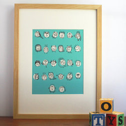 Owlphabet Alphabet Print in Turquoise by Gingiber - This cute owl alphabet print in turquoise would look great in a cluster of art on the wall or hung on its own.
