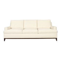 9th Street Sofa in Dark Walnut and Cream - A classic piece which combines a look of comfort and welcome with a crisp, chic form, the 9th Street Sofa would have looked elegantly at home in any room from the past several decades, and it will be an equally perfect fit for yours. Comfortably low track arms and a T-cushioned seat join a wood seat rail with angled feet, while the upholstery conforms neatly to the sofa's geometry, giving a look of deliberation to the traditionally-constructed seating design.