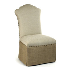 Kathy Kuo Home - French Country Jute Linen Skirted Dining Chair - High contrast meets high style in the lines of this tack upholstered, skirted chair. Combining classic lines with a fresh contemporary attitude and contrasting linen, this piece would fit beautifully into modern rustic settings as easily as it would in traditional style homes.
