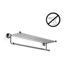 WS Bath Collections - Venessia Towel Rack With Hanging Towel Rail - Venessia by WS Bath Collections Towel Rack 25.6 in Polished Chrome,  Towel Rack with Hanging Towel Rail, Solid Brass Base, Self-Adhesive Wall Installation, No Screws Required, Made in Italy