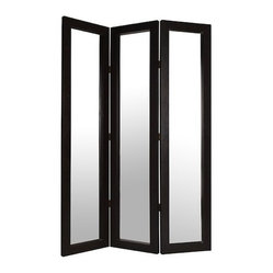 BELLEVUE SCREEN - The Bellevue is an elegant high-end mirror screen.  Each panel has a distinctive beveled mirror surrounded by dark brown leather.  Each back panel is smartly finished with dark brown leather.