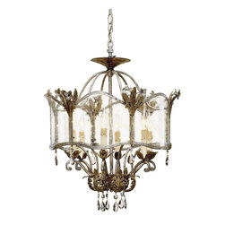 Currey and Company - Currey and Company CNC-9387 Zara Traditional Chandelier - Large - An unusual historical design from the Winterthur Museums Archive Collection is made outstanding with its opulent finish of Viejo Gold and Silver, smoked crystals and its seeded glass panels. This version of the Zara design can be adapted as a ceiling mount chandelier or hung suspended from its chain.