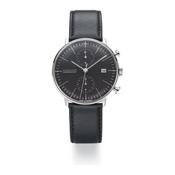 Max Bill for Junghans - Stainless Steel Automatic Chronograph - Max Bill for Junghans - Max Bill's watch faces from the 1950s and 60s for Junghans are nearly perfect in their graphic balance and clarity. His successful career in architecture and innovation in graphic design led him naturally to an aptitude in the design of timepieces and he designed what have become classics for Junghans. Junghans is a small watch company that still produces these classics using modern mechanical Swiss movements, carrying on Max Bill's legacy. All watches are made in Germany, are under warranty for 2 years and are serviceable at an authorized US service center.