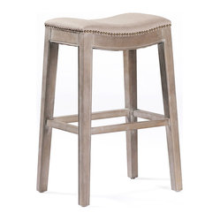 Kathy Kuo Home - Pair French Country Vivian Brass Nail Heads Linen Bar Stool - This versatile backless stool features brass nail heads and herringbone linen fabric. The subtle curve of the seat and natural cloudy finish on the legs make this a great piece for your bar, counter, or table.