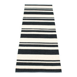 Pappelina - Pappelina Odd Plastic Runner, Black - This  rug from Pappelina, Sweden, uses PVC-plastic and polyester-warp to give it ultimate durability and clean-ability. Great for decks, bathrooms, kitchens and kid's rooms. Turn the rug over and the colors will be reversed!