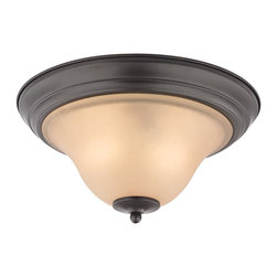 Cornerstone - 1402FM/10 Cornerstone Kingston Flush Mount Ceiling Fixture - Frosted Shades Soften the Glow of Light and Create a Relaxing Effect