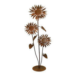 Patina Products - Sun Flower Outdoor Metal Sculpture Multicolor - S664 - Shop for Statues and Sculptures from Hayneedle.com! Memories and warm summer days are inherent in the Sun Flower Outdoor Metal Sculpture. Crafted from metal with attention to detail this sculpture is a charming accent to your existing outdoor decor. The Sun Flower Outdoor Metal Sculpture comes in your choice of sizes. Small dimensions: 9W x 12D x 36H inches weighs 11 lbs. Large dimensions: 20W x 9D x 40H inches weighs 13 lbs. About Patina ProductsWith headquarters on the central coast of California where warm days and cool nights make outdoor patio living second nature Patina Products takes pride in its art and offers the finest in outdoor living accessories with a gorgeous natural patina finish. Since 2001 Patina Products has been warming up gardens outdoor rooms and patios with its impressive line of unique fire pits and other products. They use specially designed CNC (computer numeric control) plasma cutters to cut virtually any logo or brand into the side of a custom fire pit. The company designs its fresh original line of garden art in its studio overlooking the Pacific Ocean. The business began as an evolution. After 15 years in the pharmaceutical industry the owners of Patina Products knew two things: how to run a successful business and that they wanted a more creative outlet to express their love of outdoors and home decor. With beautiful decor items from Patina Products your patio will become your favorite room of your house.