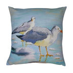 Robin Rowe - Sea Gulls Accent Pillow - An easy, breezy way to add freshness and color to any room in your home is with Indeed Decor's Sea Gulls accent pillow.  Adding two or three accent pillows to your sofa or bed is an easy and inexpensive way to transform a room with bright and cheerful spring hues. A selection of Robin Rowe's original paintings are now printed on linen for a new line of designer pillows. The linen pillow back displays a stitched woven damask label of the Roweboat logo. The pillow is a down blend with an invisible zipper for easy cleaning. All pillows are Made in the USA. Each stunning pillow is offered in three sizes.  These pillows make much appreciated gift, if you can bear to part with one.