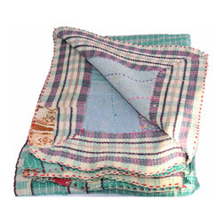 Kantha and Quilt Aqua and Purple - Hand stitched from scraps of vintage saris, this kantha quilt is unbelievably soft and truly one-of-a-kind. The combination of patterns and colors is a hallmark of these traditional Indian quilts and they provide a fun compliment to any neutral space.