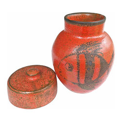 Ceramic Jar - Vermilion ceramic keepsake jar with lid. Fish motif.