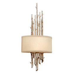 Troy Lighting - Troy Lighting B2892 Adirondack 2 Light ADA Compliant Flush Mount Wall Sconce - Go into the wild with Troy Lighting's 2-Light Adirondack Flush-Mount Wall Sconce. Its hand-forged iron base stretches into decorative silvered branches, complemented by a refined fabric shade, to create a look that's both civilized yet thoroughly untamed. Inspired by the Adirondack Mountains, this ADA-compliant luminaire creates a soothing timeless mood that's perfectly at ease in residential and commercial/hospitality spaces. Accommodates two 60-watt bulbs. This rustic wall sconce from the Adirondack Collection features hand-forged iron metalwork with branch-like decorative accents.Troy Lighting B2892 Features: