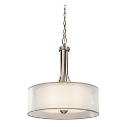 KICHLER - KICHLER Lacey Transitional Drum Pendant Light X-PA58324 - This chic Kichler Lighting pendant light features a crisp Antique Pewter finish that compliments the decorative mesh screens and opal inner glass of the drum shade. From the Lacey Collection, this fixture is sure to blend into a number of decors.