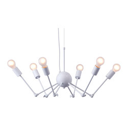 Zuo Modern Contemporary, Inc. - Snow Ceiling Lamp White - Like a prizefighting octopus, the Snow Ceiling Lamp battles the boring. Made of painted metal with six 25 watt bulbs. Tilt your head and the sea creature morphs into an elegant chandelier.