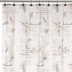 """Ex-cell Home Fashions, Inc.,bath - Cherish Shower 70-Inch x 72-Inch Curtain - Be inspired every morning with this shower curtain, which features soft botanical motifs and all-important words like words like """"Believe,"""" """"Love"""" and """"Faith"""" and their biblical definitions in beautiful script. """"Cherish"""" is certain to awaken the soul."""