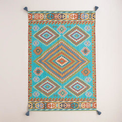 Blue Odina Kilim Flatweave Indoor-Outdoor Rug -