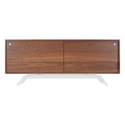Eastvold Furniture - Elko Credenza, Walnut, White Base - Midcentury meets modern in one sleek, versatile package. Stash everything from keys, files and homework to dishes, video equipment and books behind the sliding doors. Add a laser cut, powder-coated base in one of six colors to the adjustable shelves and wire passages, and you get myriad ways to fall in love.