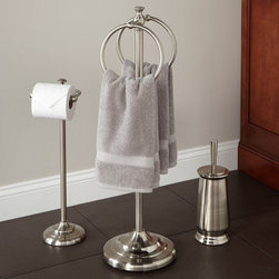 Smithfield Bathroom Set with Ring Towel Bar - Give your bath convenience and style with the Smithfield Bathroom Set, which includes a handsome ring towel holder, toilet paper stand and toilet brush holder.