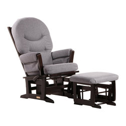 Dutailier - Dutailier Modern Glider and Ottoman Set in Espresso and Dark Grey - Dutailier - Gliders & Rockers - C2684C693128 - About This Product: Perfect for rocking baby to sleep, watch TV or read, this Modern glider and nursing ottoman combo offers an exceptionally smooth and extra long glide motion with thick cushions and padded arms. The combination of its contemporary design and espresso finish will add value to any room. The mechanism locks the glider in 6 different positions and makes it easier to sit in or step out of the glider. In addition, it features a reclining mechanism to maximize your comfort. Use the retractable footrest of the nursing ottoman for an optimal nursing position. There are no sharp edges, the finish is toxic free and this product meets all safety standards.