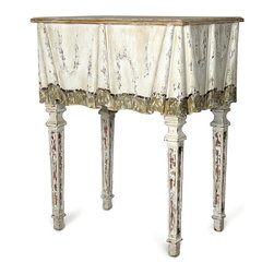 Decorative Folded Apron Console - Suggestive of the fittings that grace a Paris pied-�-terre, the Decorative Folded Apron Console imparts the look of a long-held heirloom to your eclectic decor. The neutral coloration bears a softly distressed finish that suggests the gentle march of days, the pleasant passage of years.  Adding to the visual impact of the piece:  an apron with folded contours conveys the flowing beauty of an antique fabric.