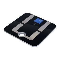 AMERICA WEIGH SCALES, INC. - Mercury Pro Body Fat Scale - The MPR-180 body fat scale features a modern tempered glass and stainless steel construction with built-in touch keys. The reverse backlit LCD displays not only body weight, but also body fat, bone mass, muscle, and body water. The additional data is calculated using BIA technology. A convenient carry handle allows you to easily carry the scale with you or store it on a wall hanger.
