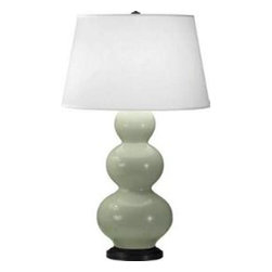 "Robert Abbey Lighting - Robert Abbey Triple Gourd Table Lamp in Deep Patina Bronze - Deep Patina Bronze Finish with Celadon Glass with Pearl Dupioni Fabric Shade. Bulb Type: A; Switch: 3-Way*California, Oregon & Washington State Only: Surcharge of $25.00 shows as ""Drop Ship Fee"" on checkout page.As seen in Cottages & Bungalows August/September 2014 Issue. **refer to photo 3 & 4**"