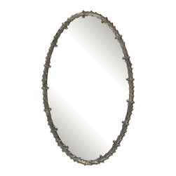 Uttermost - Antique Silver Leaf Costano Silver Leaf Oval Mirror - Antique Silver Leaf Costano Silver Leaf Oval Mirror