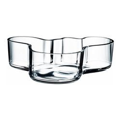 Iittala - Alvar Aalto Bowl, Clear - A beautiful glass bowl is the perfect accent for a counter or table. Fill it with fresh fruit or float gardenias in its shallow base for an artful statement in your home. Just be sure to clean it by hand and it will fast become a family treasure.