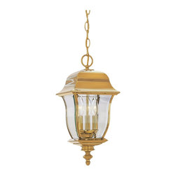 Designers Fountain - Designers Fountain Gladiator Outdoor Hanging Lantern X-BP-DVP-4551 - This Designers Fountain Gladiator outdoor hanging lantern has a name that completely suits its features. It's a durable fixture, with a durable polished brass finish that doesn't pit, tarnish, corrode or discolor. Furthermore, the clear glass add to the beauty of this three-light piece, which looks great in any outdoor space.
