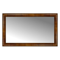 """Posters 2 Prints, LLC - 35"""" x 21"""" Belmont Light Brown Custom Framed Mirror - 35"""" x 21"""" Custom Framed Mirror made by Posters 2 Prints. Standard glass with unrivaled selection of crafted mirror frames.  Protected with category II safety backing to keep glass fragments together should the mirror be accidentally broken.  Safe arrival guaranteed.  Made in the United States of America"""