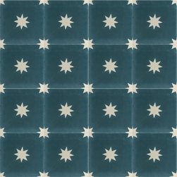 Colonial Blue Stars Cement Tile - BY AMETHYST ARTISAN