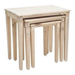 Great Deal Furniture - Alden Acacia Wood Nesting Tables (Set of 3), Off-White - The Alden Nesting table set is a great addition to any room for extra table top space. Whether you use them all together or separately around the house, the Alden nesting tables are multi-functional while still being stylish and convenient.