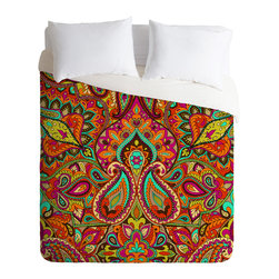 DENY Designs - Aimee St Hill Paisley Orange Duvet Cover - Turn your basic, boring down comforter into the super stylish focal point of your bedroom. Our Luxe Duvet is made from a heavy-weight luxurious woven polyester with a 50% cotton/50% polyester cream bottom. It also includes a hidden zipper with interior corner ties to secure your comforter. it's comfy, fade-resistant, and custom printed for each and every customer.