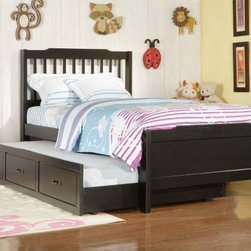 Albion Trundle Bed -Black - With or without the optional trundle, the Albion Trundle Bed -Black is a beautiful addition to your child's room. Featuring a classic design, this trundle bed is built from Asian rubberwood and finished in black for easy coordination with your child's bedroom decor.About Homelegance, Inc.Homelegance takes pride in offering only the highest quality home furnishings that incorporate innovative design at the best value. From dining sets to mirrors, sofas, and accessories, Homelegance strives to provide customers with a wide breadth and depth of selection as well as the most complete and satisfying service available for their category. Homelegance distribution centers are conveniently located throughout the United States and Canada.