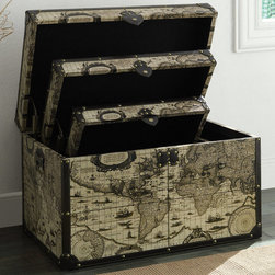 """Coaster - Storage Trunk, Large - Add plenty of storage space to your room with this storage trunk set in this antique world traveler's theme. Featuring stunning printed side and top panels with reinforced corners and edges and nailhead trim. Each trunk nests neatly within the next size for space saving convenience.; Finish/Color: Map Print; Dimensions: 27.50""""L x 18""""W x 17""""H"""