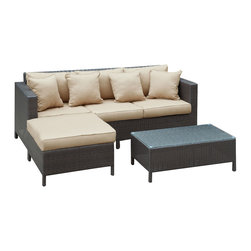 LexMod - Urban Dimension Outdoor Wicker Patio Sectional Sofa Set - Bring the city energy to your domain with the sleek, Urban Dimension outdoor set. Whisper confidences and fill the air with familiar laughter inspired by your inner circle. Bring new ideas into being with artful lounging and a view of a cornucopia of sights and sounds.