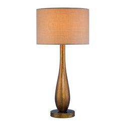 """Guld Collection 1-Light 22"""" Brushed Aged Gold Table Lamp LS-21600 - A pair of these well-priced lamps would look great styled on a console table."""