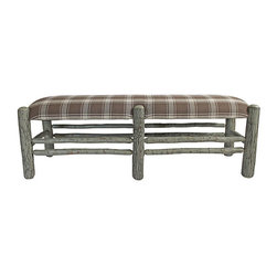 Genesee River - Handcrafted Hickory Bench With Plaid Seat - Handcrafted in Pennsylvania this tenoned hickory bench, frame is painted and aged, upholstered with plaid linen on seat.