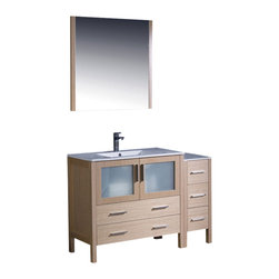 "Fresca - Fresca Torino 48"" Modern Bathroom Vanity w/ One Side Cabinet & Integrated Sink - - Fresca is pleased to usher in a new age of customization with the introduction of its Torino line. The frosted glass panels of the doors balance out the sleek and modern lines of Torino, making it fit perfectly in either Town or Country dcor."
