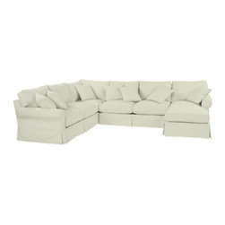 Ballard Designs - Suzanne Kasler Signature 13oz Linen Baldwin 4-Piece Sectional with Right Arm Cha - Coordinates with Suzanne's linen panels, tablecloths & pillows. Easy to change with the seasons & to remove for cleaning. Dry clean. Imported. Suzanne's best-selling line of luxurious linens now include slipcovers designed exclusively to fit our Baldwin 4-Piece Sectional. Each slipcover is hand finished with strong, over-locking seams and Velcro under the arms for a secure fit. A Baldwin Slipcover is necessary when ordering any Baldwin frame.Suzanne Kasler Linen Baldwin 4-Piece Sectional Slipcover features:. . . .