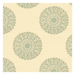 Aqua Sunburst Block Print Fabric - Blockprint sunburst medallion in soft aqua on lightweight cream cotton.  A touch of India for the free spirited nomad in you.Recover your chair. Upholster a wall. Create a framed piece of art. Sew your own home accent. Whatever your decorating project, Loom's gorgeous, designer fabrics by the yard are up to the challenge!